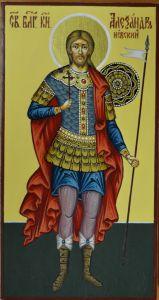 Рукописная икона Александр Невский 6*8 см купить с доставкой