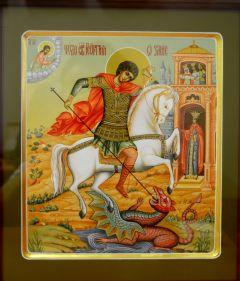 Рукописная икона Чудо Георгия о змие, ковчег купить с доставкой