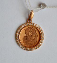 Золотая Казанская икона БМ круглая