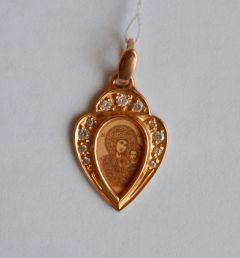 Золотая подвеска Казанская икона Богородицы
