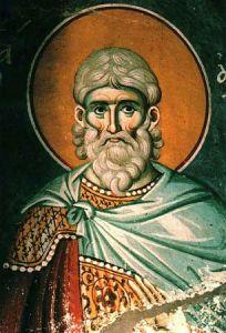 Рукописная икона Авксентий Константинопольский
