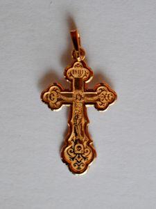 Золотой крестик с закругленными краями купить с доставкой
