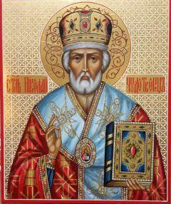 Рукописная икона святитель Николай Чудотворец узор купить с доставкой