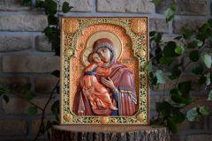 Резная Владимирская икона Божией Матери купить с доставкой