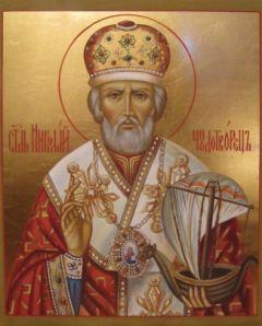 Рукописная икона Николай Чудотворец с ладьей купить с доставкой