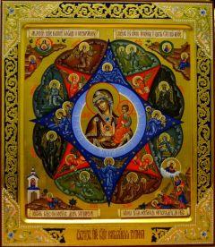 Икона Неопалимая Купина с резьбой и узорами купить с доставкой