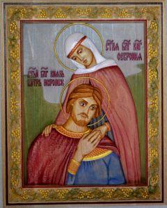 Резная икона Петр и Феврония 12