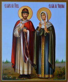 Рукописная икона в подарок Петр и Феврония Муромские 26 купить с доставкой