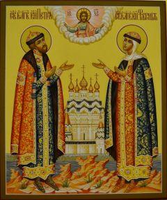 Рукописная икона Петра и Февронии 39 купить с доставкой