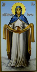 Рукописная икона Покров Пресвятой Богородицы купить с доставкой
