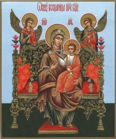Рукописная икона Всецарица голубой фон купить с доставкой