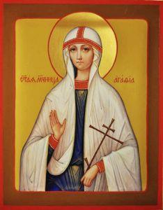 Рукописная икона Святая Агафия купить с доставкой