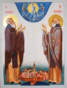 Рукописная икона Геннадий Важеозерский и Никифор купить с доставкой