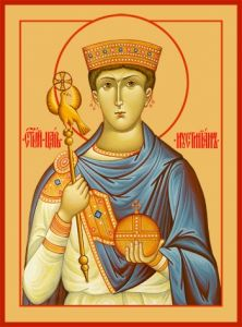 Рукописная икона Иустиниан