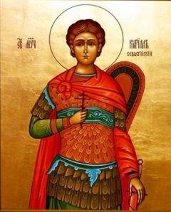 Рукописная икона Кирилл Севастийский купить с доставкой