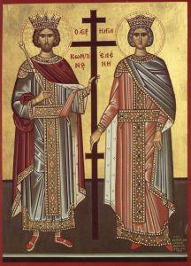 Рукописная икона Константин и Елена