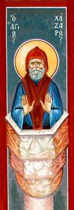Рукописная икона Лазарь Галисийский купить с доставкой