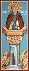 Рукописная икона Лука Столпник Халкидонский купить с доставкой