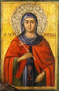 Рукописная икона Матрона Солунская купить с доставкой