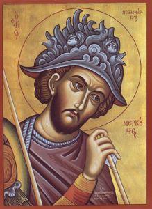 Рукописная икона Меркурий Кесарийский купить с доставкой