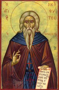 Рукописная икона Неофит Затворник Кипрский