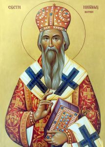 Рукописная икона Николай Сербский