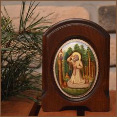 Икона из финифти Моление Серафима Саровского на камне