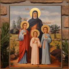 Рукописная икона Вера Надежда Любовь и Мать их София купить с доставкой
