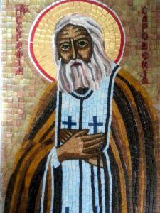 Икона из мозаики Серафим Саровский купить с доставкой