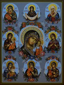 Рукописная икона Собор Чудотворных Образов Богородицы купить с доставкой