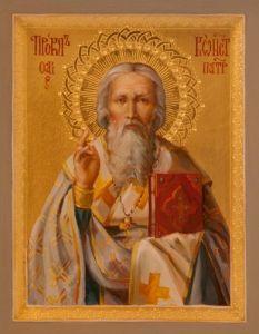 Рукописная икона Прокл Константинопольский купить с доставкой