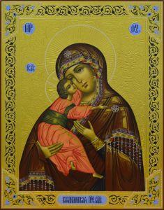 Рукописная икона Владимирская Божия Матерь с резьбой купить с доставкой