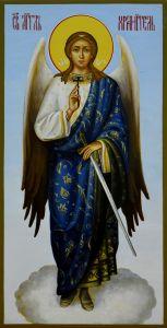 Рукописная икона Ангел-Хранитель живопись купить с доставкой