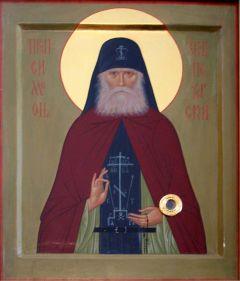 Рукописная икона Симеон Псково-Печерский купить с доставкой