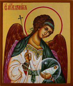 Рукописная икона Ангел-Хранитель с Душой Человека купить с доставкой
