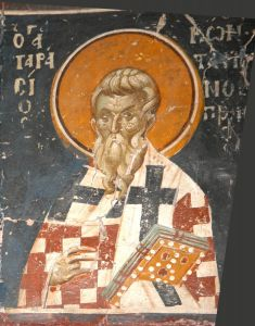 Рукописная икона Тарасий Константинопольский купить с доставкой