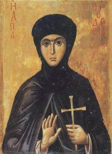 Рукописная икона Феодосия Константинопольская купить с доставкой