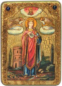 Икона ручной работы Святая Варвара Илиопольская, с натуральными камнями купить с доставкой