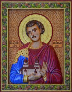 Резная икона Владислав Сербский купить с доставкой