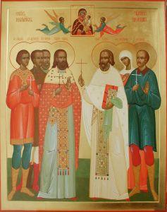 Рукописная икона Шуйские новомученики купить с доставкой