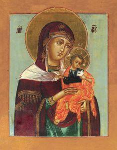 Рукописная икона Голубицкая Божия Матерь