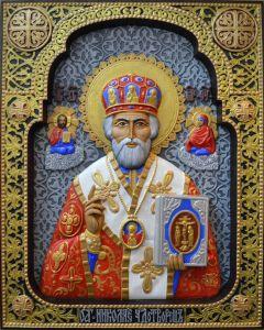 Резная икона Николай Чудотворец ковчег