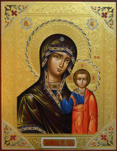 Казанская икона Богородицы с резьбой и золотом купить с доставкой