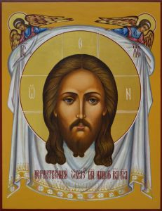 Рукописная икона Спас Нерукотворный с Ангелами купить с доставкой