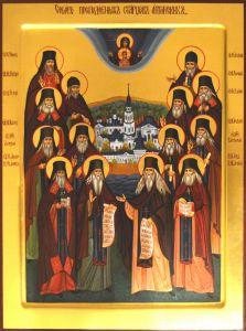 Рукописная икона Собор Оптинских старцев купить с доставкой