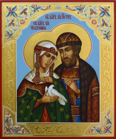 Рукописная икона Петр и Феврония с резьбой 22 купить с доставкой