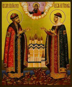 Рукописная икона Петр и Феврония золото 21 купить с доставкой