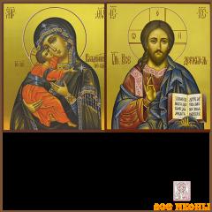 Рукописная венчальная пара Владимирская икона купить с доставкой
