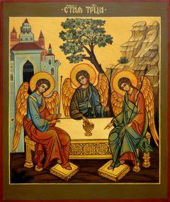 Рукописная икона Святой Троицы купить с доставкой