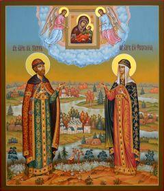 Рукописная икона Петр и Феврония Муромские 18 купить с доставкой